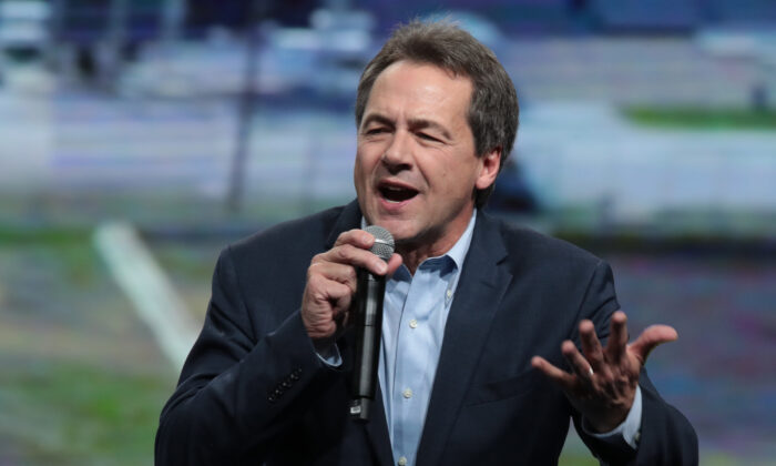 Democratic presidential candidate Montana Gov. Steve Bullock speaks at the Liberty and Justice Celebration at the Wells Fargo Arena in Des Moines, Iowa, on Nov. 1, 2019. (Scott Olson/Getty Images)