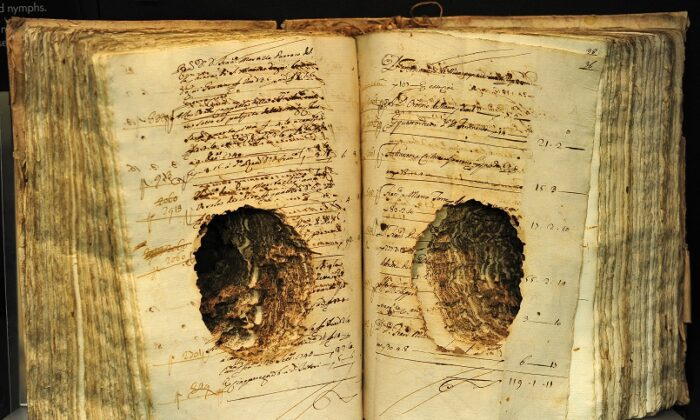 Books damaged by termites are displayed on a shelf of the museum at the Central Institute for the Conservation and Restoration of Damaged Books in Rome on Dec. 20, 2011 in Rome. (Alberto Pizzoli/AFP via Getty Images)