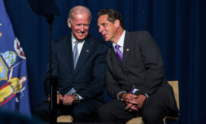Vice President Joe Biden and New York Gov. Andrew Cuomo speak during a political rally in New York City on Sept. 10, 2015. (Andrew Burton/Getty Images)