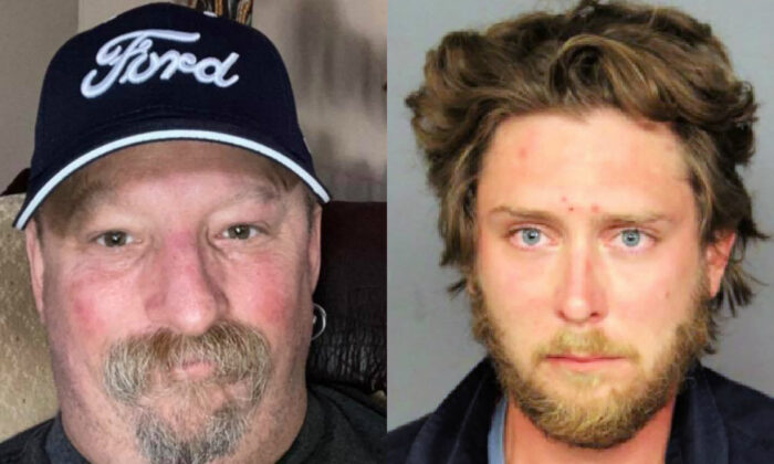 Lee Keltner, left, was shot dead in Denver, Colo., on Oct. 10, 2020. On right, shooting suspect Matthew Dolloff is pictured in a booking photograph. (Lee Keltner family/GoFundMe; Denver Police Department)