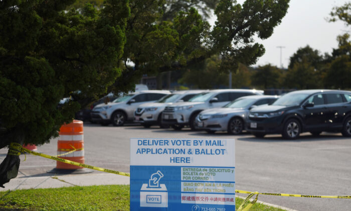 A sign sits outside of a mail ballot drop-off site in Houston, Texas, on Oct. 1, 2020. (Callaghan O'Hare/Reuters)