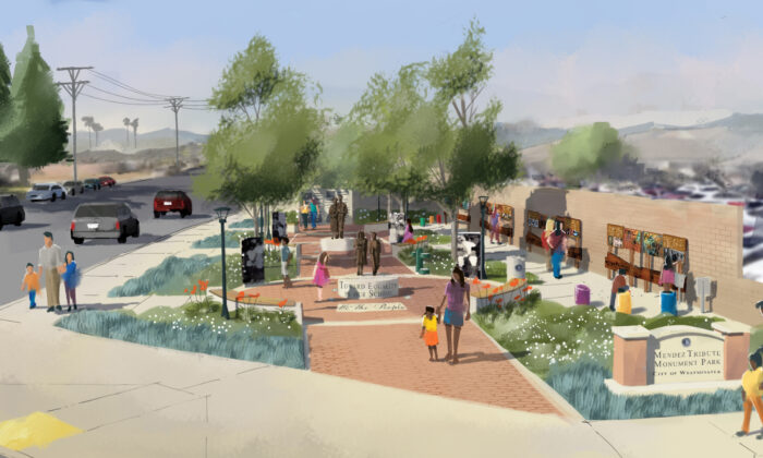 A visual rendering of the planned Mendez Tribute Monument Park in Westminster, Calif. (Courtesy of the Orange County Department of Education)