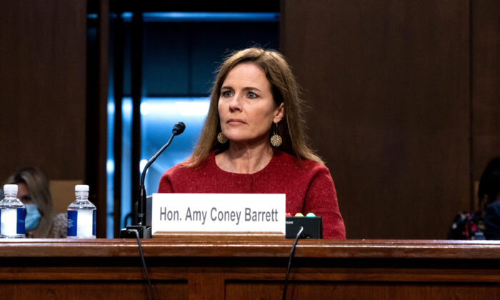 Supreme Court nominee Judge Amy Coney Barrett listens on the second day of her Supreme Court confirmation hearing before the Senate Judiciary Committee on Capitol Hill in Washington, on Oct. 13, 2020. (Anna Moneymaker-Pool/Getty Images)