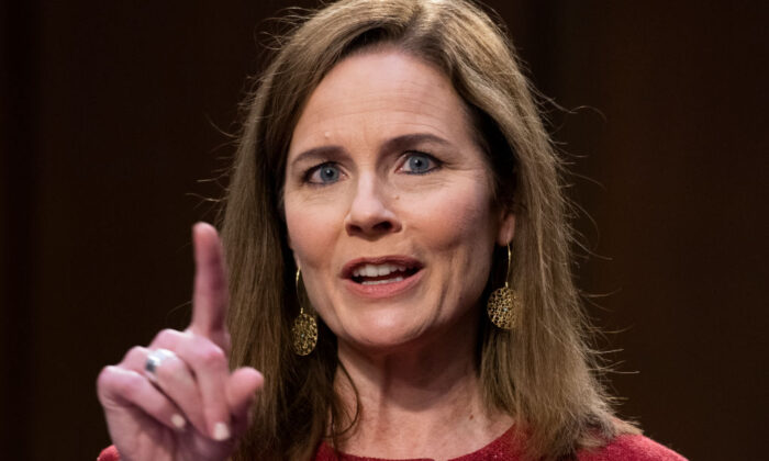 Supreme Court justice nominee Amy Coney Barrett testifies on the second day of her Senate Judiciary Committee confirmation hearing in Hart Senate Office Building in Washington, on Oct. 13, 2020. (Tom Williams/Getty Images)