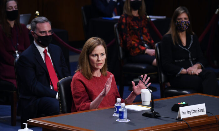 Supreme Court nominee Judge Amy Coney Barrett testifies before the Senate Judiciary Committee on the second day of her Supreme Court confirmation hearing on Capitol Hill in Washington, on Oct. 13, 2020. (Kevin Dietsch-Pool/Getty Images)