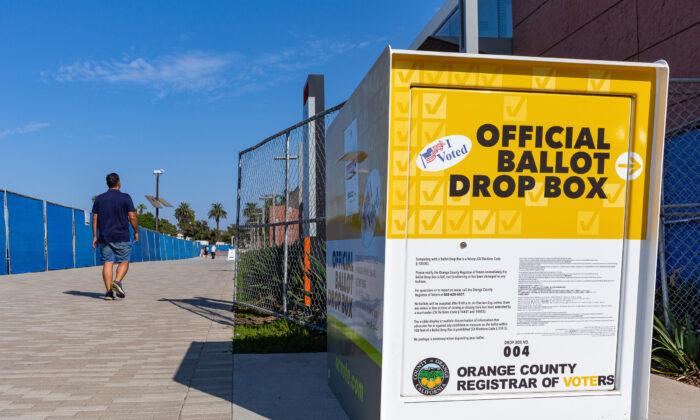 An official ballot drop box is seen in Santa Ana, Calif., on Sept. 18, 2020. (John Fredricks/The Epoch Times)