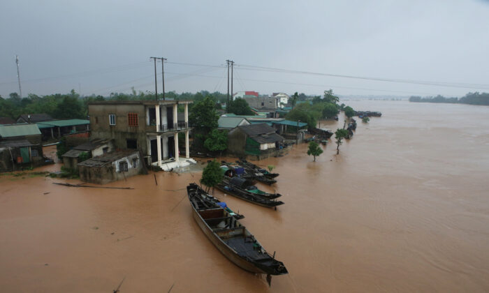A flooded village is seen in Quang Tri province, Vietnam on Oct. 12, 2020. (Ho Cau/VNA via Reuters)