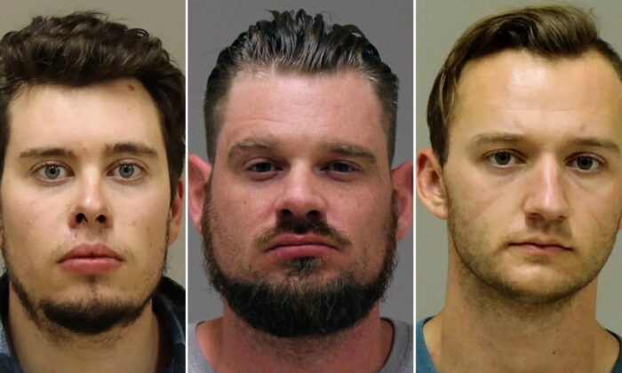 In this combination of photos provided by the Kent County Sheriff, Ty Garbin (L), Adam Dean Fox (C), and Kaleb Franks are shown in booking photos. (Kent County Sheriff via AP)