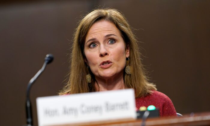 Supreme Court nominee Judge Amy Coney Barrett speaks during the second day of her Senate Judiciary Committee confirmation hearings in Washington on Oct. 13, 2020. (Susan Walsh/Pool/AFP via Getty Images)