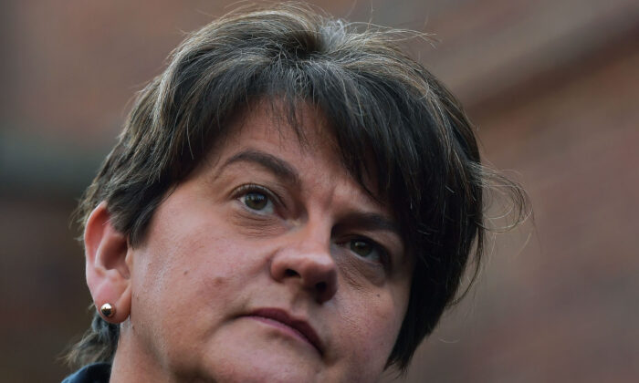 Northern Ireland's First Minister, Arlene Foster, is seen at a press conference outside Stormont House, Belfast, as cross party talks to restore the Northern Ireland power sharing government begin in Belfast on Dec. 16, 2019. (Charles McQuillan/Getty Images)