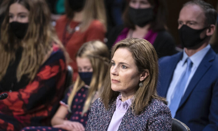 Supreme Court nominee Judge Amy Coney Barrett testifies before the Senate Judiciary Committee on the third day of her Supreme Court confirmation hearing on Capitol Hill in Washington, on Oct. 14, 2020. (Andrew Caballero-Reynolds-Pool/Getty Images)