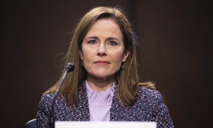 Supreme Court nominee Judge Amy Coney Barrett testifies before the Senate Judiciary Committee on the third day of her Supreme Court confirmation hearing on Capitol Hill in Washington on Oct. 14, 2020. (Michael Reynolds/Pool/Getty Images)