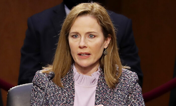 Supreme Court nominee Judge Amy Coney Barrett answers questions during the third day of her confirmation hearing before the Senate Judiciary Committee on Capitol Hill in Washington, on Oct. 14, 2020. (Michael Reynolds/Pool/Getty Images)