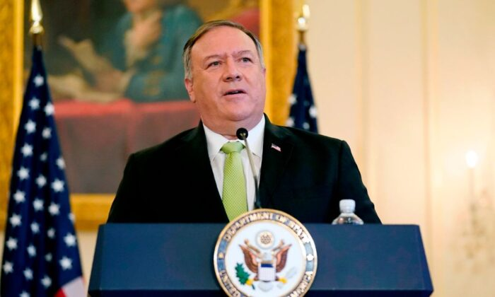Secretary of State Mike Pompeo speaks during a news conference in Washington, on Sept. 21, 2020. (Patrick Semansk/POOL/AFP via Getty Images)