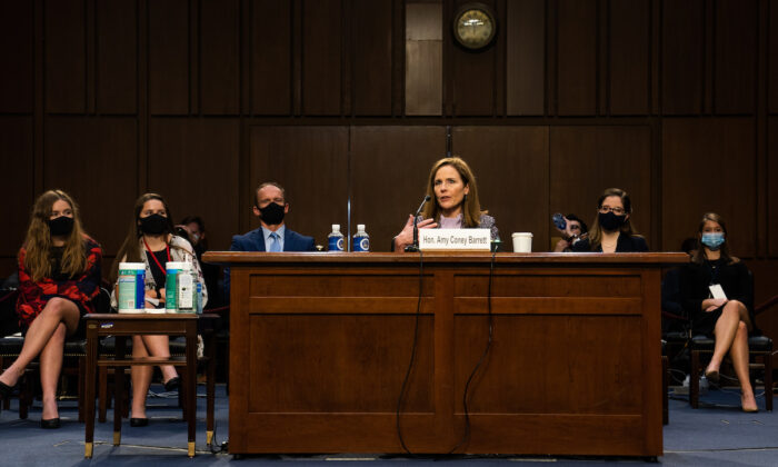 Supreme Court nominee Amy Coney Barrett during the Senate Judiciary Committee hearing in Washington, on Oct. 14, 2020. (Demetrius Freeman/Pool/Getty Images)
