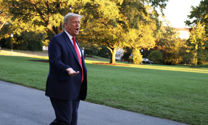 President Donald Trump speaks to members of the press prior to a Marine One departure from the White House on Oct. 13, 2020. (Alex Wong/Getty Images)