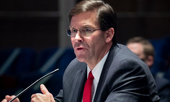 Secretary of Defense Mark Esper testifies before a House Armed Services Committee hearing at Capitol Hill in Washington on July 9, 2020. (Michael Reynolds-Pool/Getty Images)