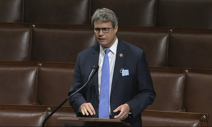 Rep. Bill Huizenga (R-Mich.) speaks on the floor of the House of Representatives at the U.S. Capitol in Washington on April 23, 2020. (House Television via AP)