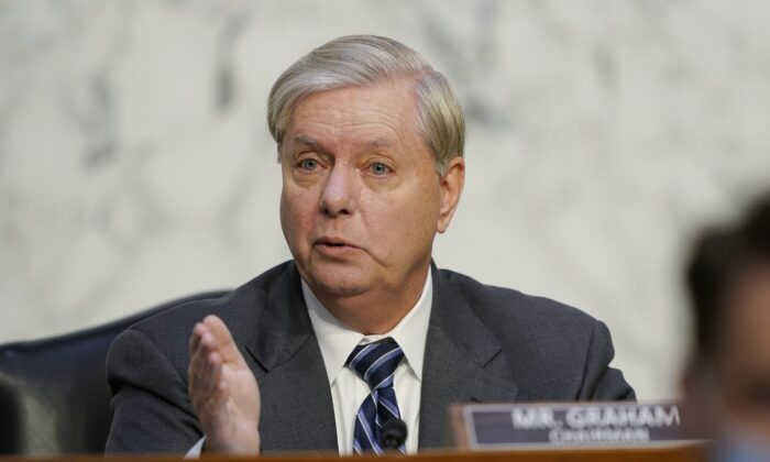 Senate Judiciary Chairman Lindsey Graham (R-S.C.) speaks in Washington on Oct. 14, 2020. (Susan Walsh/Pool/AP Photo)