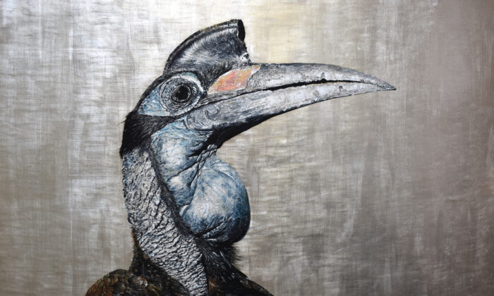 """""""Hornbill,"""" 2020, by Andrew Pledge. Oil on wood panel with silver leaf; 20 inches by 30 inches. (Courtesy of Andrew Pledge)"""