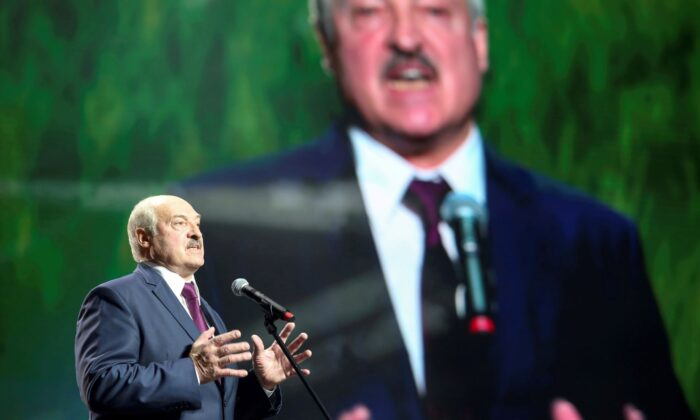 Belarusian President Alexander Lukashenko speaks at an event in Minsk, Belarus, on Sept. 17, 2020. (Tut.By via Reuters/File Photo)