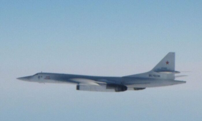 One of the two Tu-160 Blackjack bombers intercepted by RAF jets on Oct. 14, 2020 (RAF)
