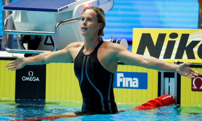 Federica Pellegrini of Italy wins 18th FINA World Swimming Championship of Women's 200m Freestyle at Nambu University Municipal Aquatics Center in Gwangju, South Korea, on July 24, 2019. (Evgenia Novozhenina/Reuters)