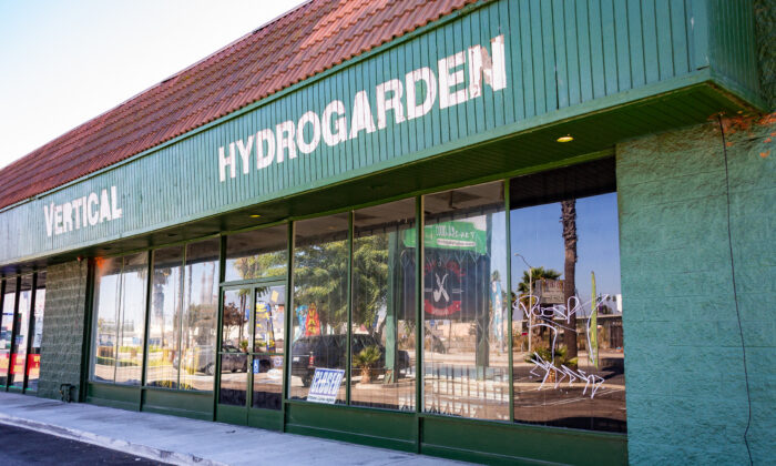 A shuttered hydroponics store that was the site of an underground gambling operation in Anaheim, Calif., on Oct. 14, 2020. (John Fredricks/The Epoch Times)