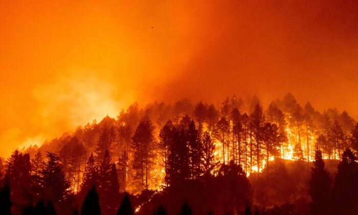The Glass Fire burns a hillside above Silverado Trail in St. Helena, Calif., on Sept. 27, 2020. (Noah Berger/AP Photo)