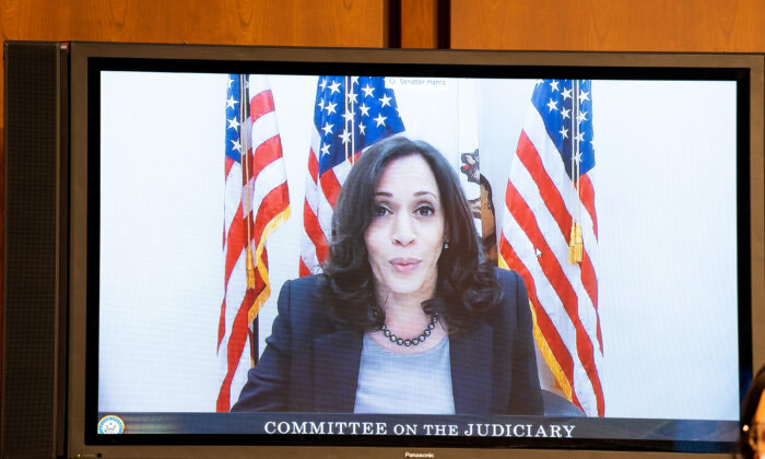 Sen. Kamala Harris (D-Calif.) speaks remotely to Supreme Court nominee Judge Amy Coney Barrett before the Senate Judiciary Committee on the third day of her Supreme Court confirmation hearing on Capitol Hill in Washington, on Oct.14, 2020. (Anna Moneymaker-Pool/Getty Images)