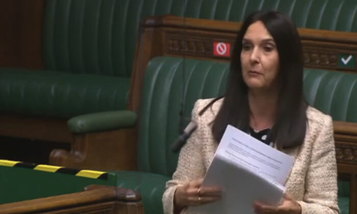 MP Margaret Ferrier speaks in the House of Commons on Oct. 28, 2020, whilst awaiting the results of a COVID-19 test which  turned out positive. (Parliament TV)