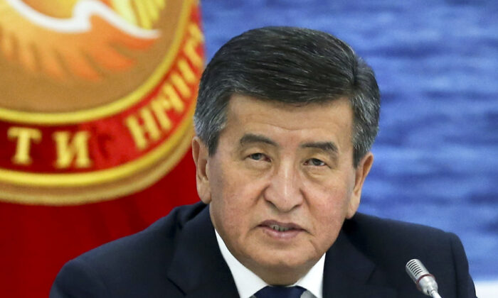 Kyrgyzstan's President Sooronbai Jeenbekov speaks at the Eurasian Economic Union Intergovernmental Council in Cholpon-Ata, Kyrgyzstan, on Aug. 9, 2019. (Yekaterina Shtukina, Sputnik, Government Pool Photo via AP)