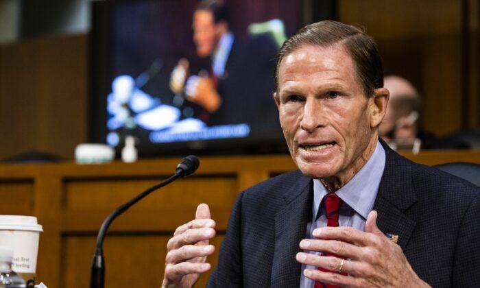 Sen. Richard Blumenthal (D-Conn.) speaks during a Senate Judiciary Committee in Washington on Oct. 15, 2020. (Samuel Corum/Getty Images)