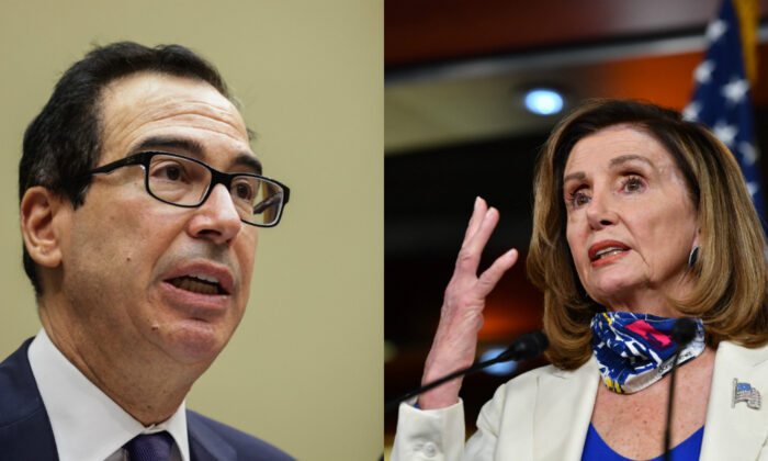 Treasury Secretary Steven Mnuchin (L) testifies during a congressional hearing in Washington on Sept. 1, 2020. (R) House Speaker Nancy Pelosi (D-Calif.) speaks in Washington on Oct. 1, 2020. (Graeme Jennings/Pool/Getty Images; Nicholas Kamm/AFP via Getty Images)