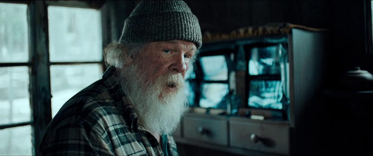 """man with white beard and plaid shirt in """"Angel Has Fallen"""""""