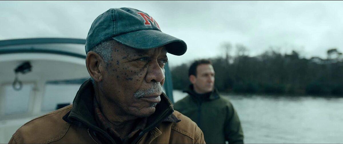 """manin green cap and brown coat in """"Angel Has Fallen"""""""