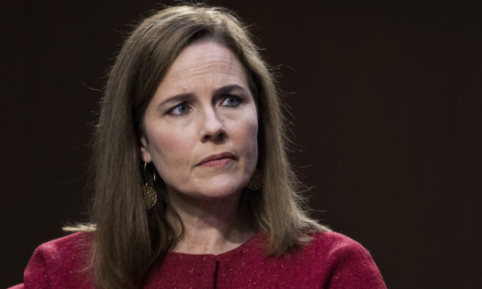 Supreme Court nominee Judge Amy Coney Barrett testifies before the Senate Judiciary Committee on the third day of her Supreme Court confirmation hearing on Capitol Hill in Washington on Oct. 14, 2020. (Anna Moneymaker-Pool/Getty Images)