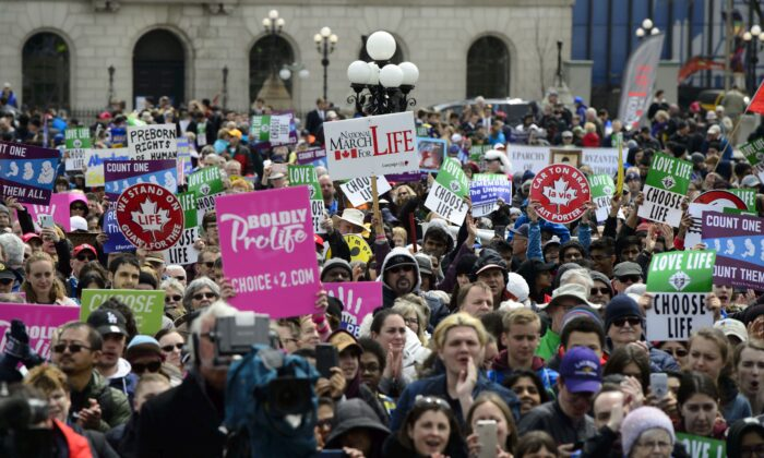 Thousands take part in the March For Life rally on Parliament Hill in Ottawa on May 9, 2019. (The Canadian Press/Sean Kilpatrick)