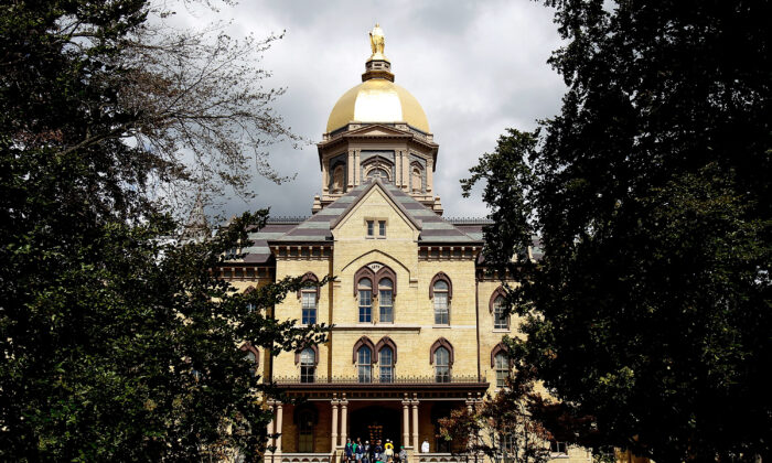 """The """"Golden Dome"""" on the campus of Notre Dame University in South Bend, Ind., on Sept. 4, 2010. (Jonathan Daniel/Getty Images)"""