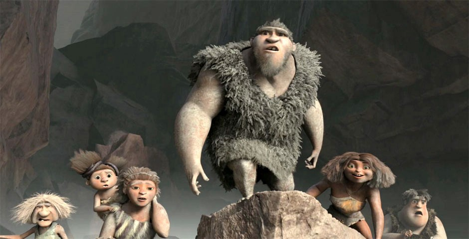 "a cave family emerges from a rockfall in ""The Croods"""