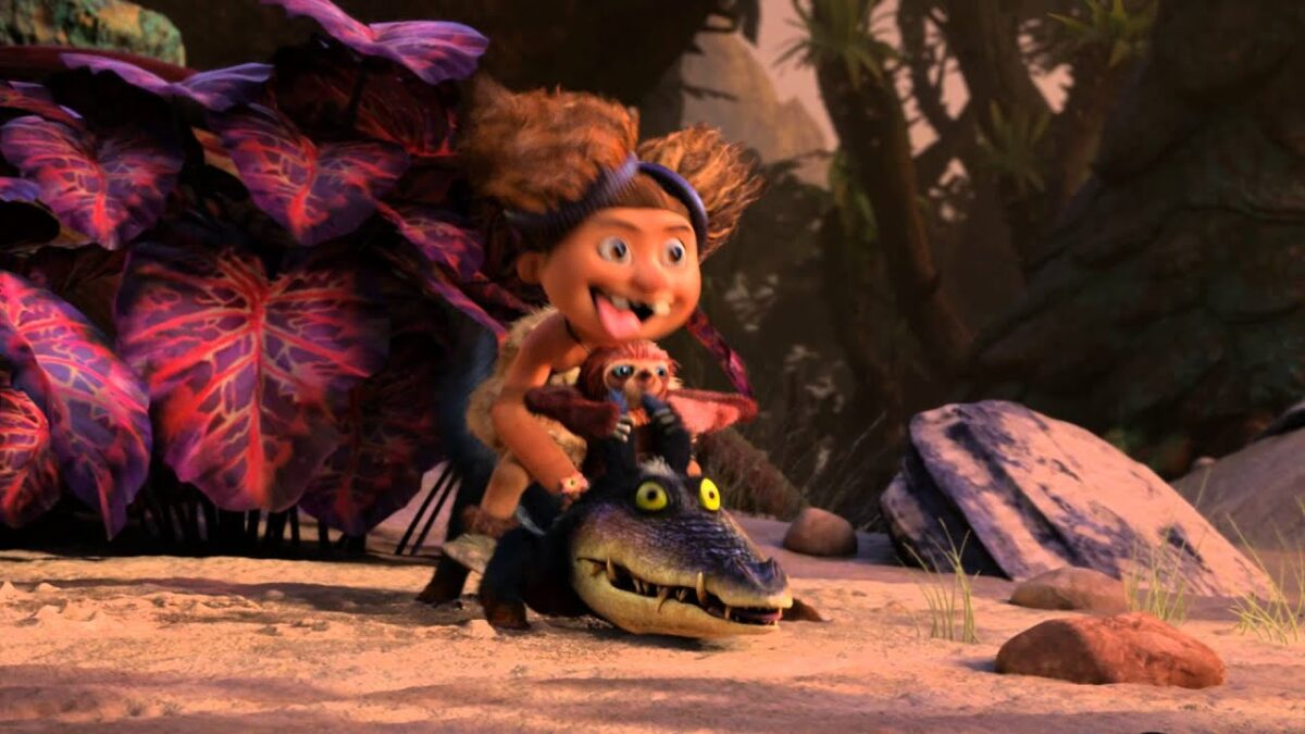 "child and crocodile-dog in ""The Croods"""