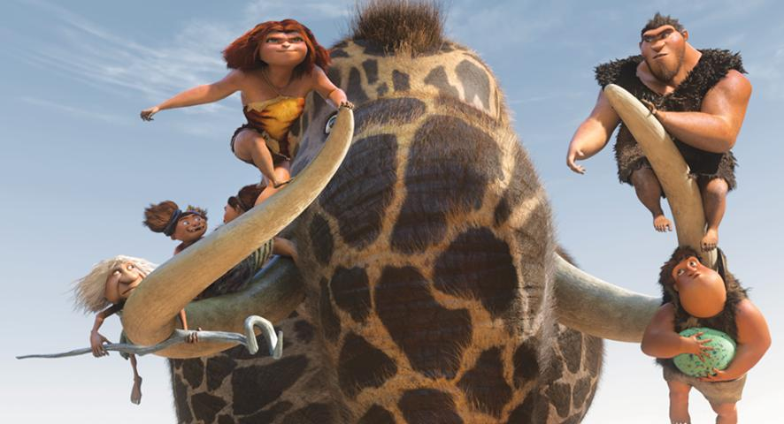 "a family rides a giraffe-elephant in ""The Croods"""