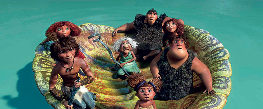 "a family floats in a turtle shell in ""The Croods"""