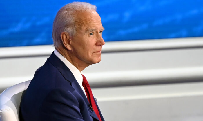 Democratic presidential candidate and former Vice President Joe Biden participates in a town hall at the National Constitution Center in Philadelphia on Oct. 15, 2020. (Jim Watson/AFP via Getty Images)