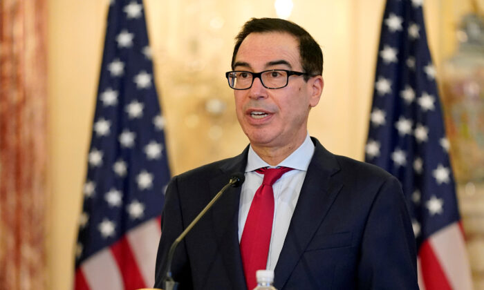 Treasury Secretary Steven Mnuchin speaks during a news conference in Washington on Sept. 21, 2020. (Patrick Semansky/Pool via Reuters)