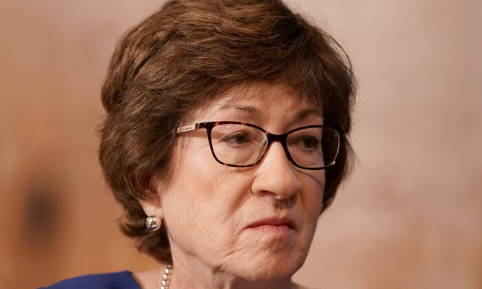 Sen. Susan Collins (R-Maine) listens during a hearing in Washington on Sept. 9, 2020. (Greg Nash/Pool/Getty Images)