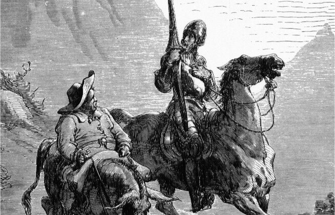 """Old age doesn't extinguish the love for life.  A detail from """"Don Quixote de la Mancha and Sancho Panza,"""" 1863, by Gustave Doré. (Public Domain)"""