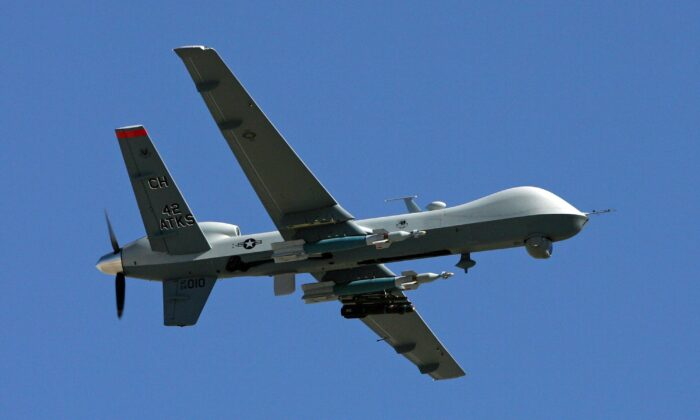 A drone flies by at Creech Air Force Base in Indian Springs, Nev., on Aug. 8, 2007. (Ethan Miller/Getty Images)