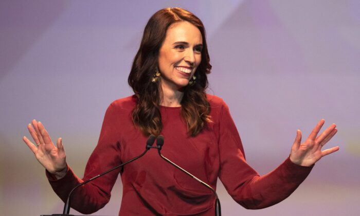 New Zealand Prime Minister Jacinda Ardern gestures as she gives her victory speech to Labour Party members at an event in Auckland, New Zealand on Oct. 17, 2020. (Mark Baker/AP Photo)