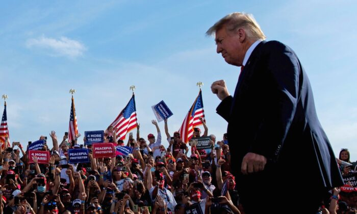 President Donald Trump arrives for a Make America Great Again rally at Ocala International Airport in Ocala, Fla., on Oct. 16, 2020. (Brendan Smialowski/AFP via Getty Images)
